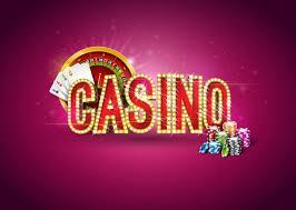 Ordet casino med rouletthjul, spelkort och spelmarker