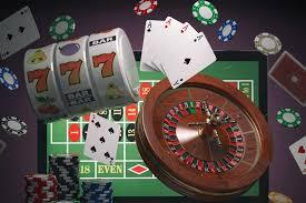 Roulettbord, rouletthjul, slotshjul, spelkort och spelmarker