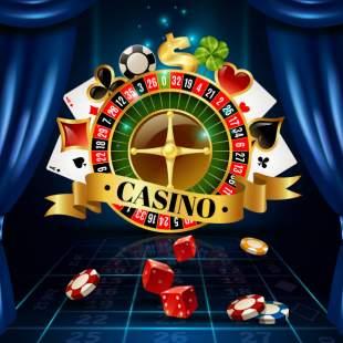 Casino, rouletthjul, spelkort, spelmarker och tärningar